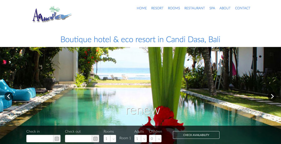 Mobile-friendly website, booking engine, SEO & social media for Aquaria Bali