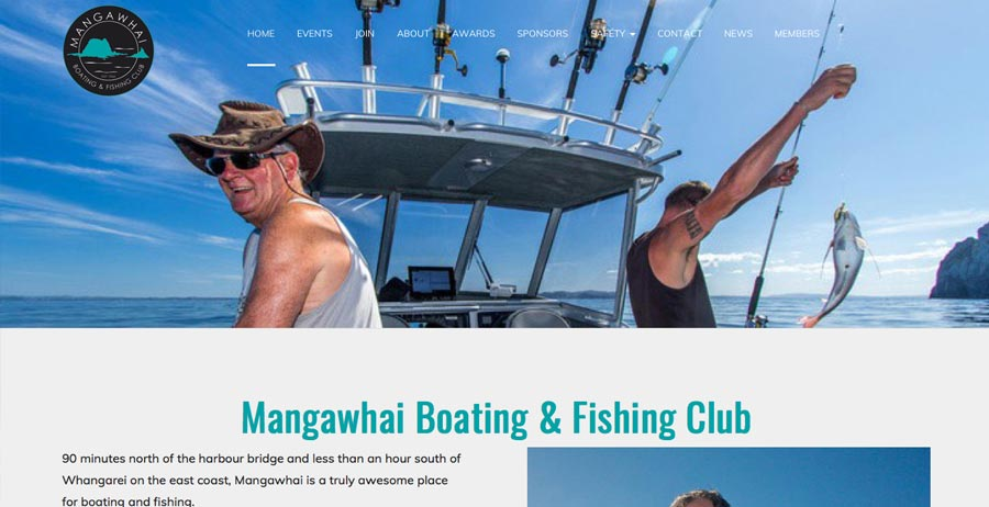 Branding, mobile-friendly website & directory for Mangawhai Boating & Fishing Club