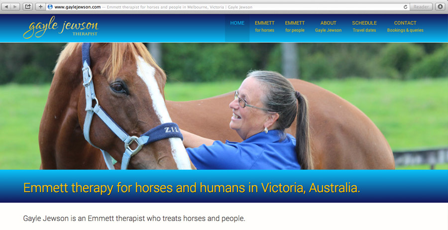Mobile friendly website development and SEO for Emmett therapist for people and horses in Melbourne