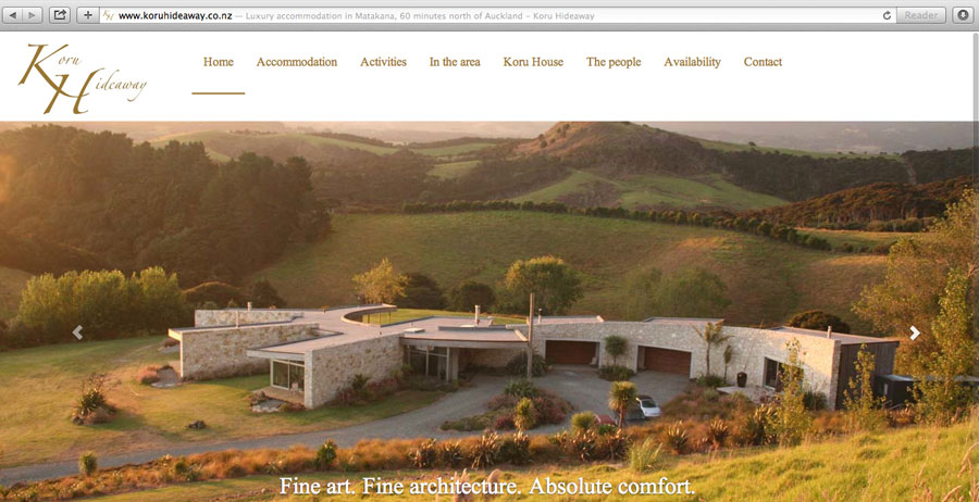 Mobile-friendly website for Koru Hideaway