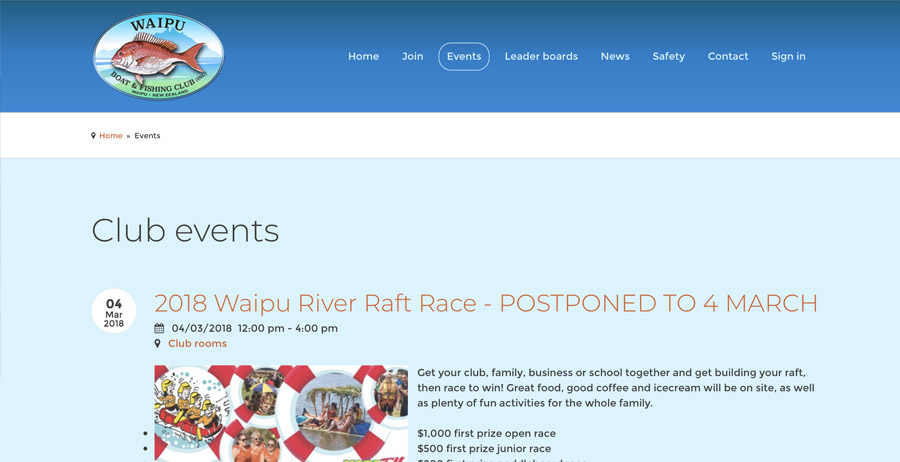 Mobile-friendly website for Waipu Boat and Fishing Club